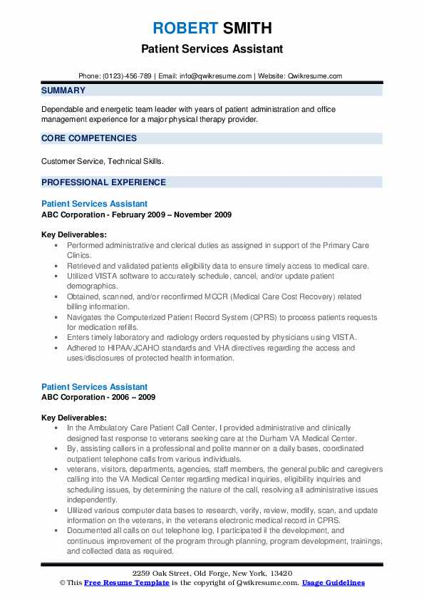 Patient Services Assistant Resume example