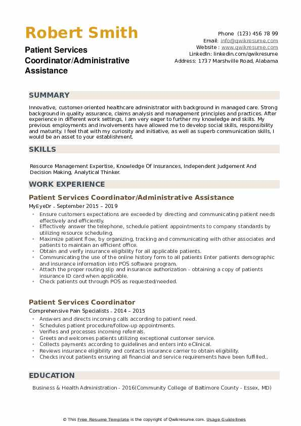Patient Services Coordinator/Administrative Assistance  Resume Model