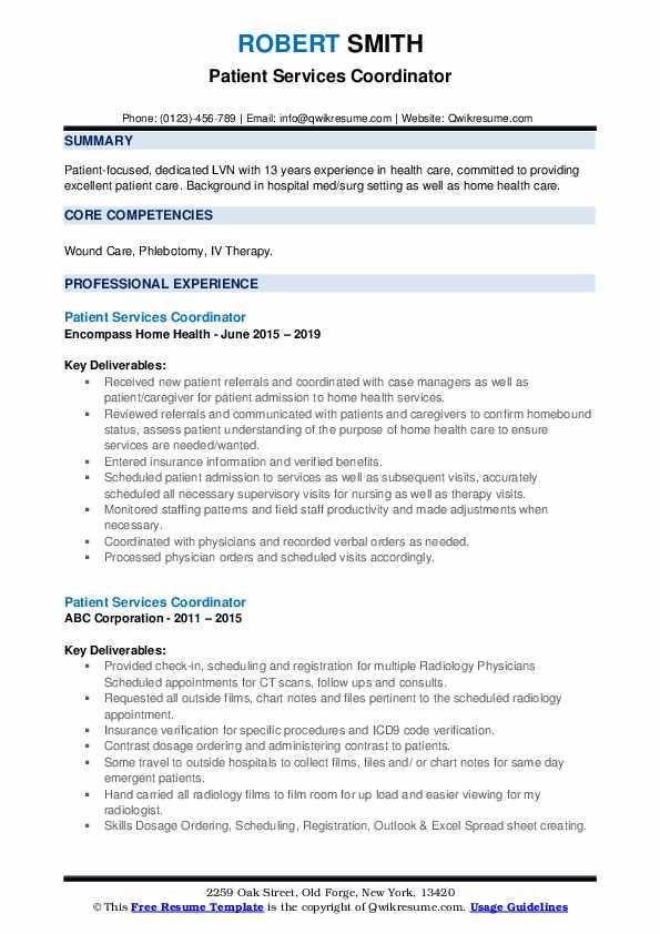 Patient Services Coordinator Resume example