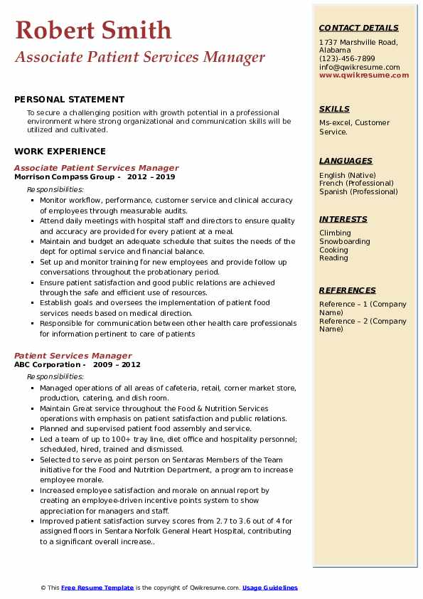 patient services manager resume samples