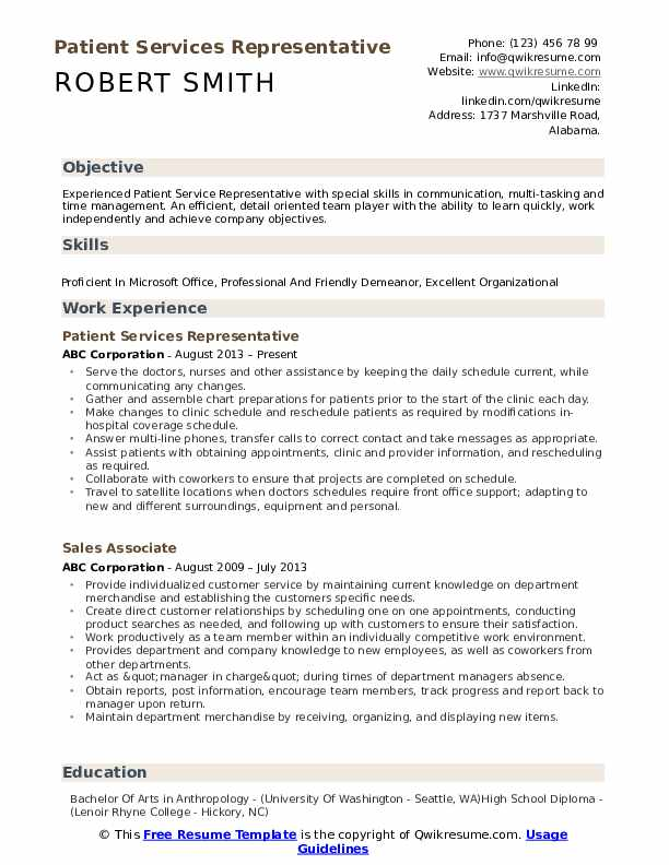 Patient Services Representative Resume Model