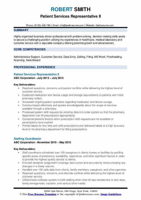 Patient Services Representative II Resume Example