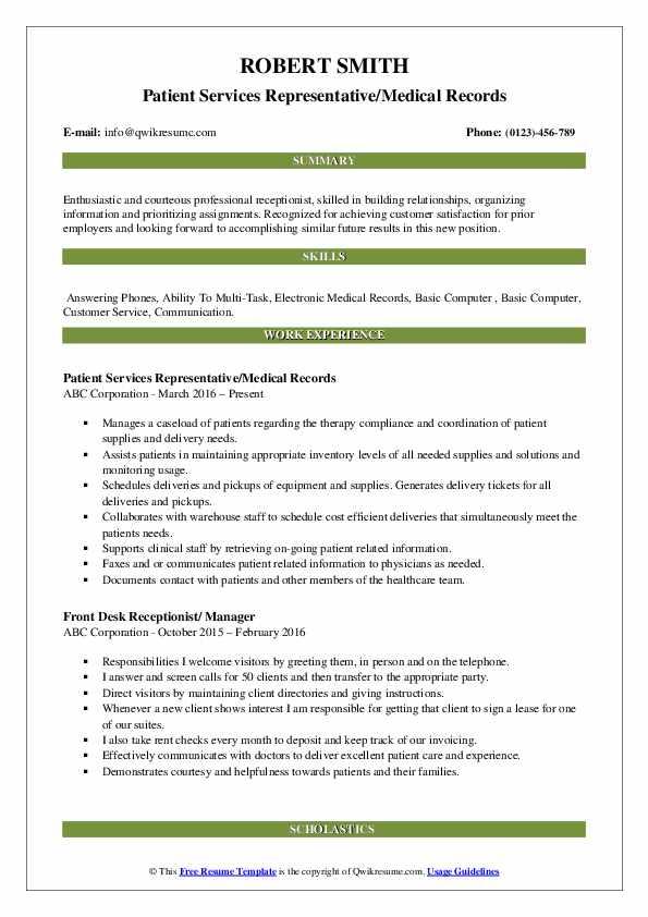 Patient Services Representative/Medical Records Resume Sample