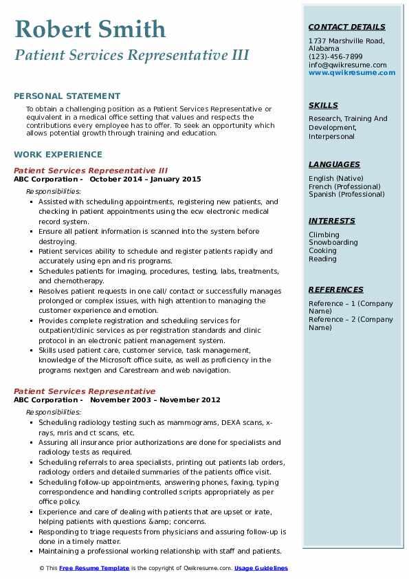 Patient Services Representative III Resume Model