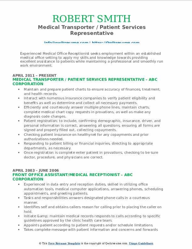 Medical Transporter / Patient Services Representative Resume Format