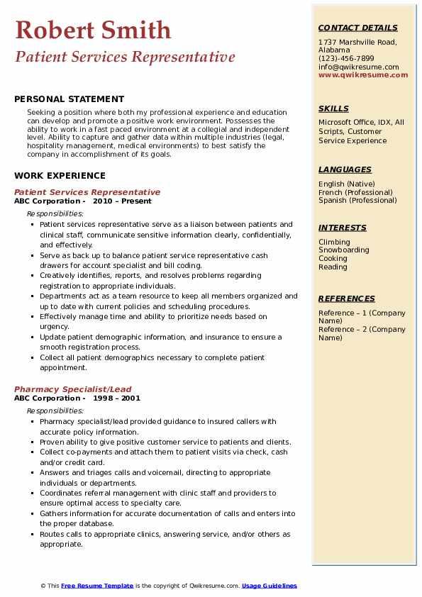 Patient Services Representative Resume Format