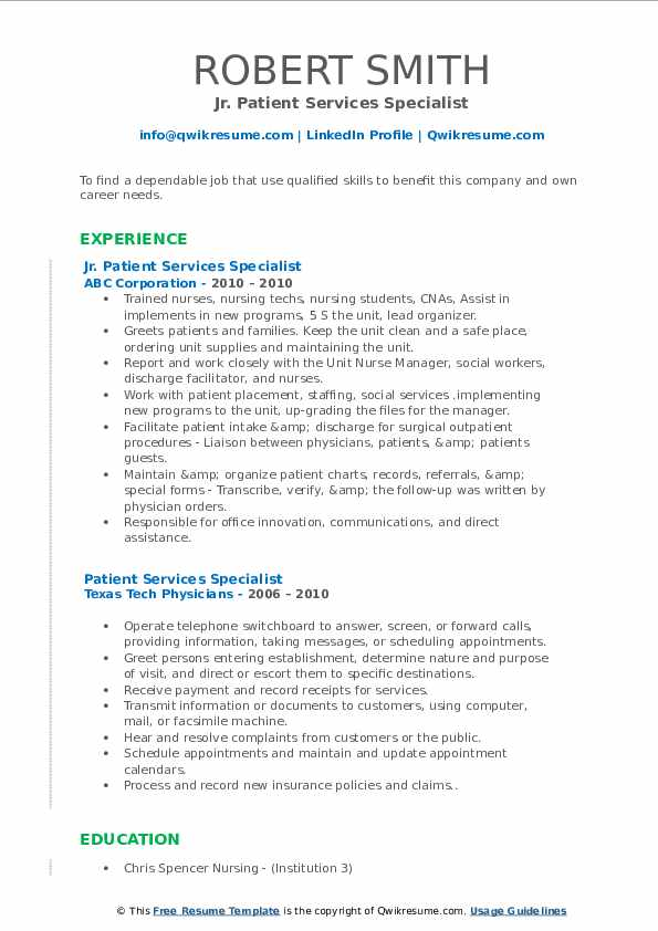 patient services specialist resume samples  qwikresume
