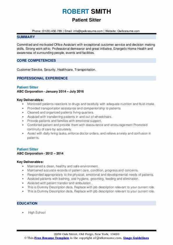 Patient Sitter Resume example
