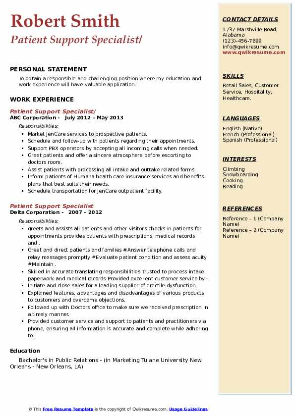 Patient Support Specialist Resume example