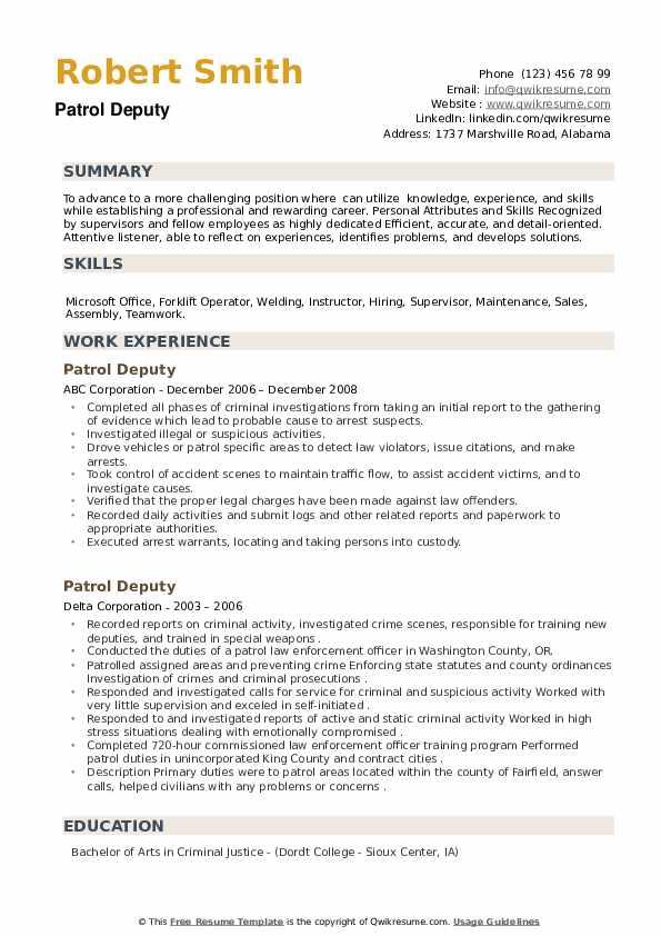 Patrol Deputy Resume example