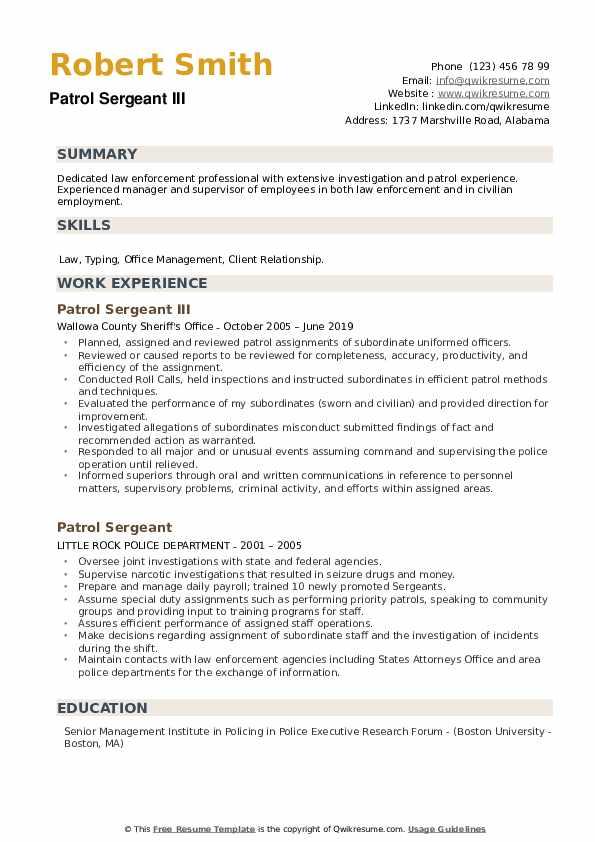 Patrol Sergeant III Resume Example