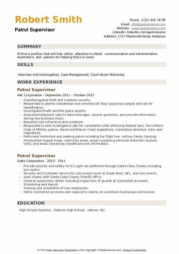Patrol Supervisor Resume example