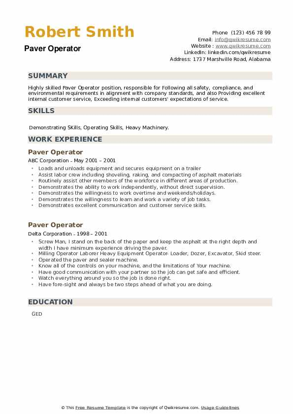 Paver Operator Resume example