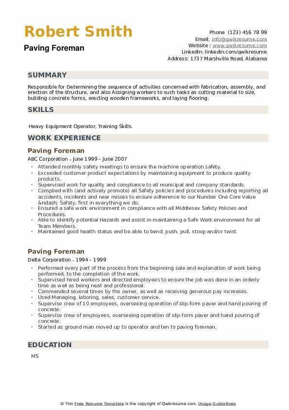 Paving Foreman Resume example