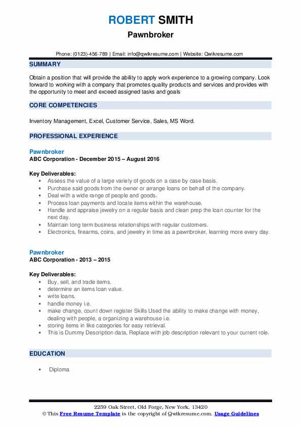 pawnbroker resume samples  qwikresume