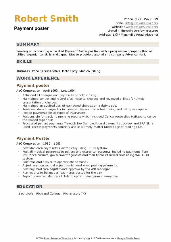 Payment Poster Resume example