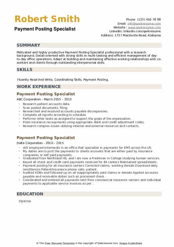 Payment Posting Specialist Resume example