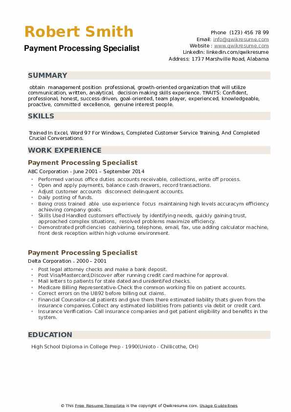 Payment Processing Specialist Resume example