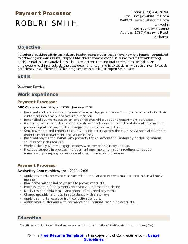 Payment Processor Resume Example