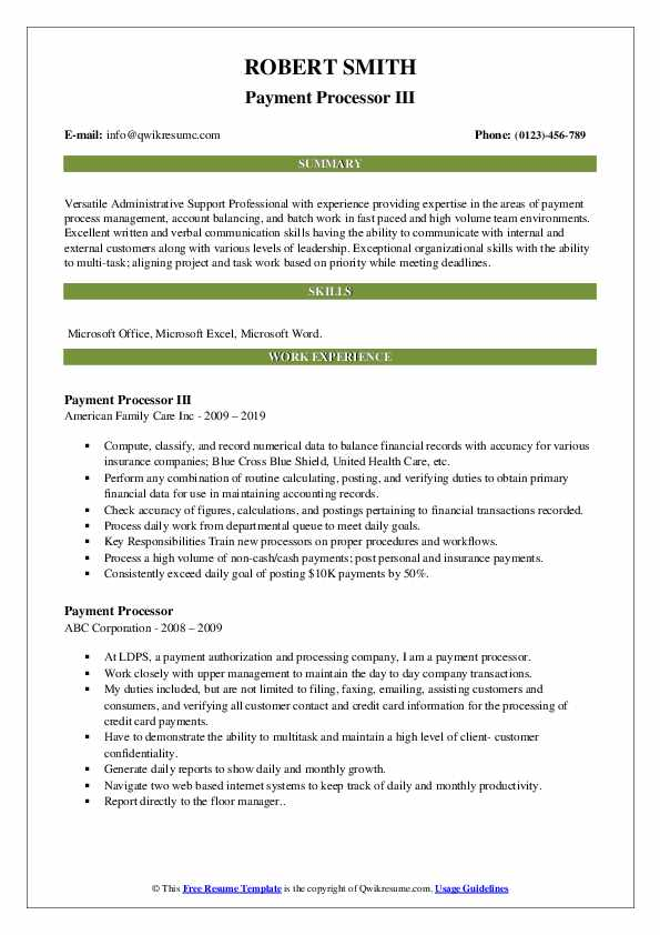 Payment Processor III Resume Model