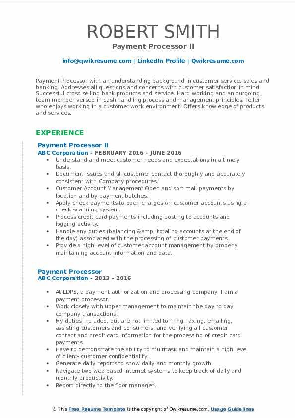 Payment Processor II Resume Model