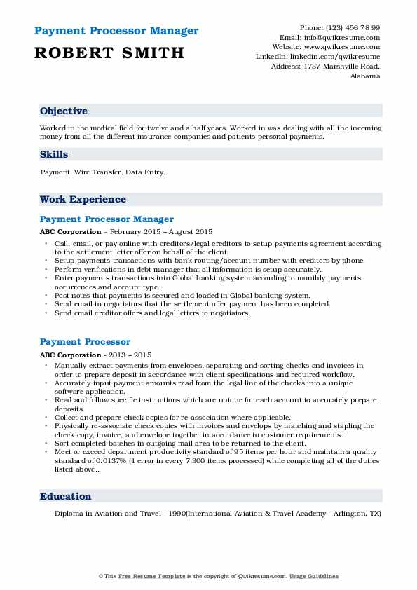 Payment Processor Manager Resume Model