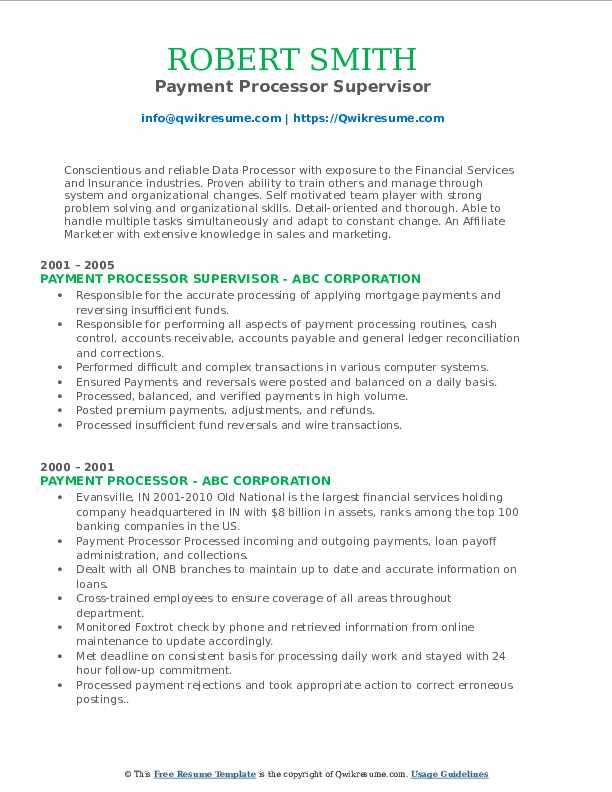 Payment Processor Supervisor Resume Sample