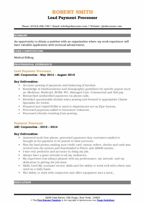 Lead Payment Processor Resume Format