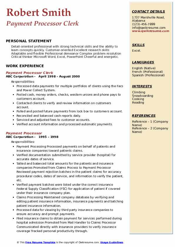 Payment Processor Clerk Resume Example
