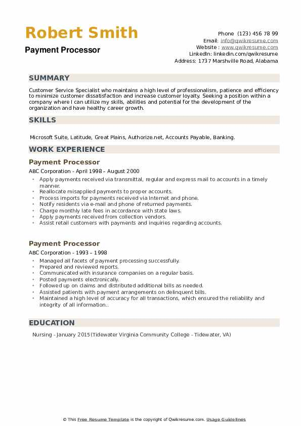Payment Processor Resume Samples Qwikresume
