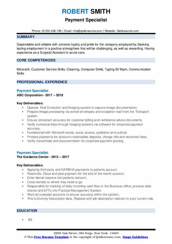 Payment Specialist Resume example