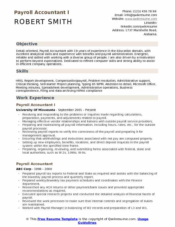 Payroll Accountant I Resume Model