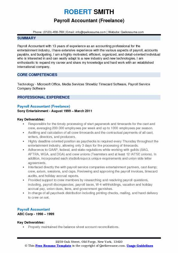 Payroll Accountant (Freelance) Resume Example