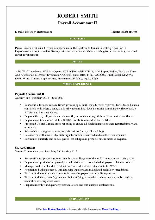 Payroll Accountant II Resume Model