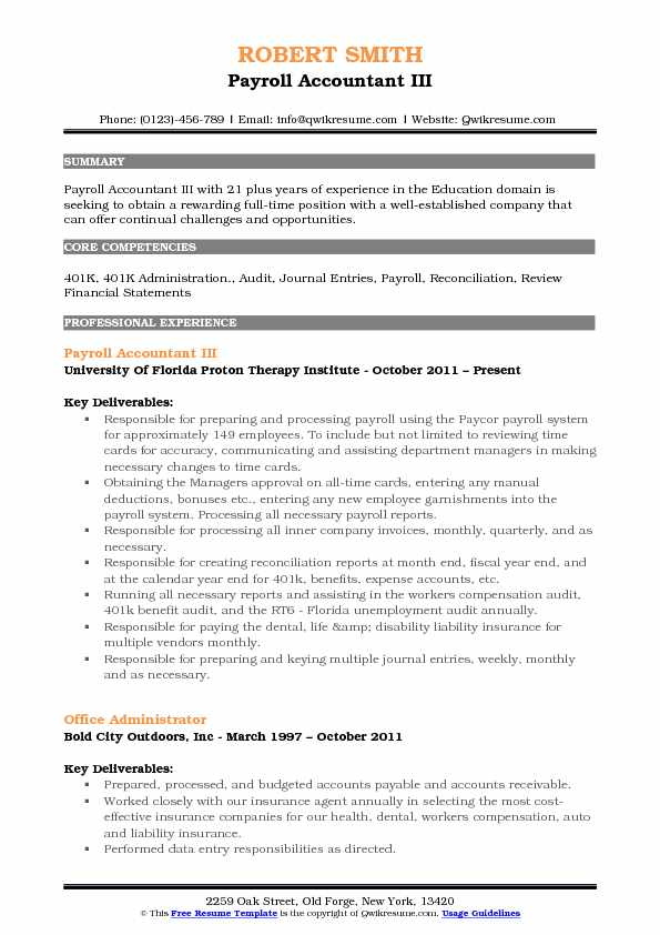 Payroll Accountant III Resume Format