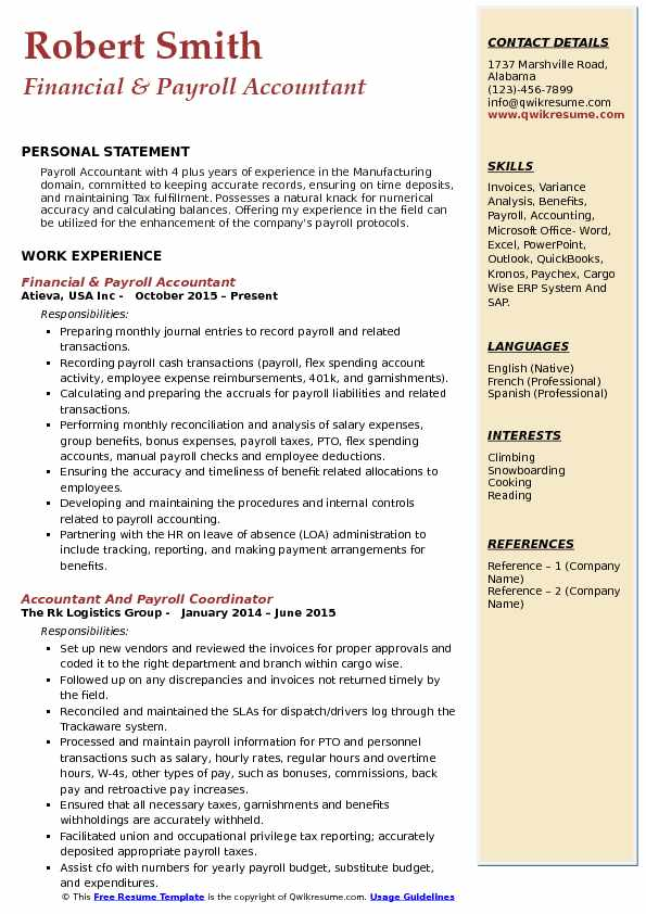 Financial & Payroll Accountant Resume Example