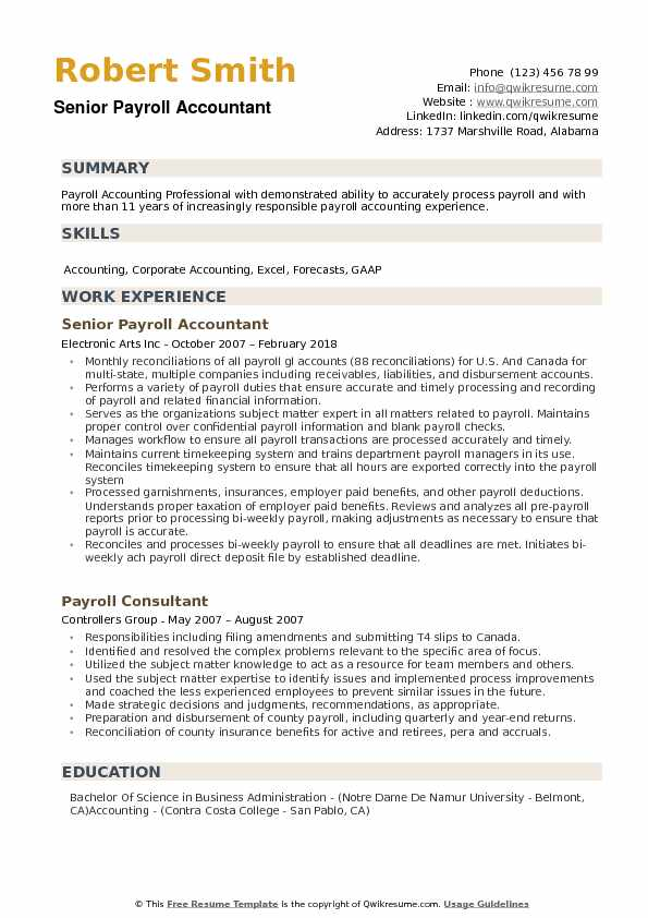 Payroll Accountant Resume example