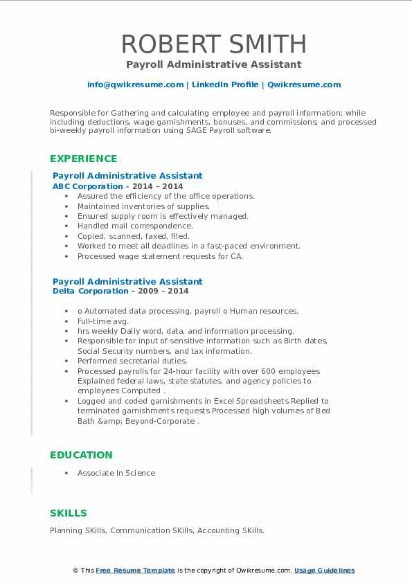 payroll administrative assistant resume samples  qwikresume