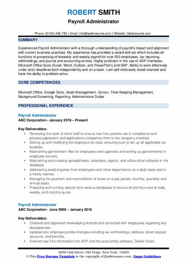 Payroll Administrator Resume Example