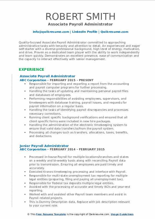 Associate Payroll Administrator Resume Template
