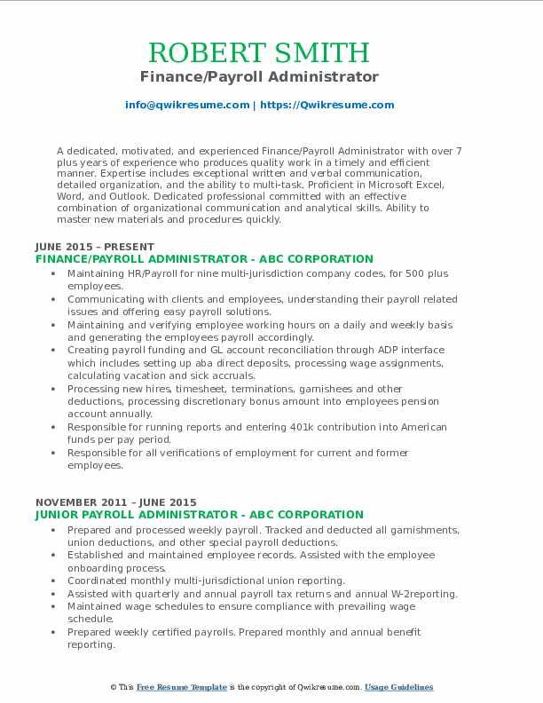 Finance/Payroll Administrator Resume Format