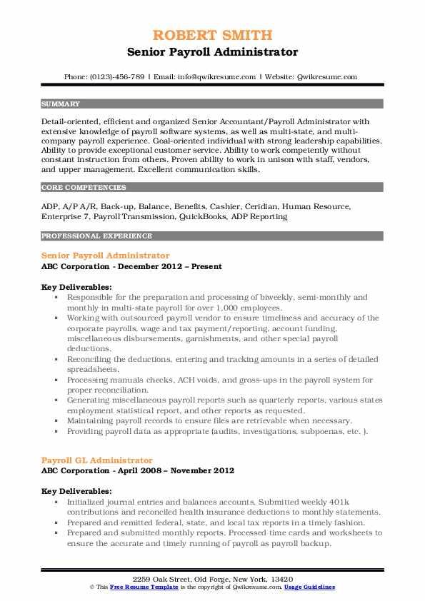 Senior Payroll Administrator Resume Format