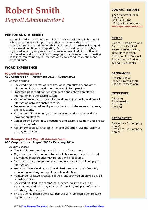 Payroll Administrator I Resume Model