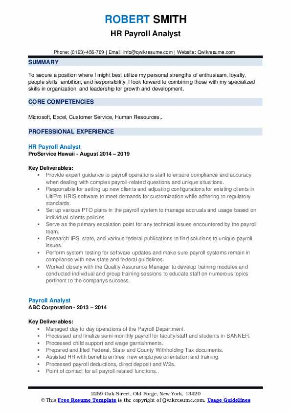HR Payroll Analyst Resume Sample
