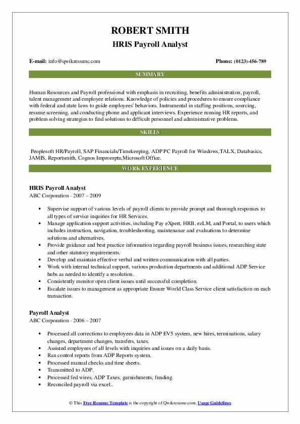 HRIS Payroll Analyst Resume Format