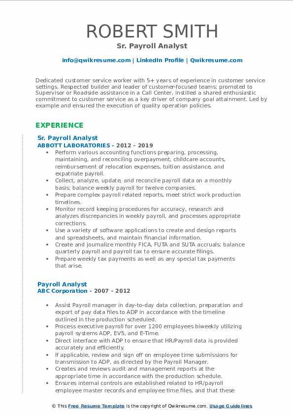Sr. Payroll Analyst Resume Example