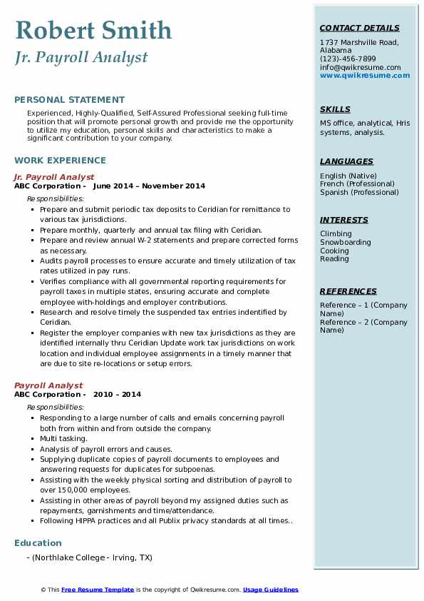 Jr. Payroll Analyst Resume Example