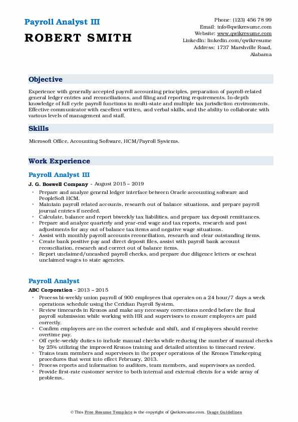 Payroll Analyst III Resume Model