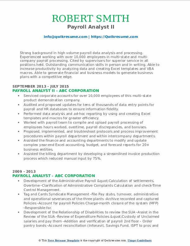 Payroll Analyst II Resume Template