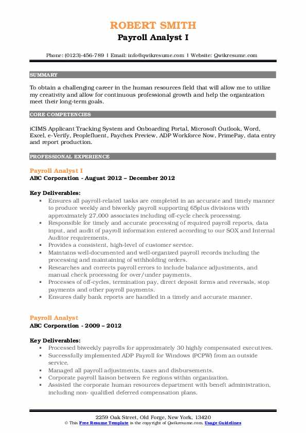 Payroll Analyst I Resume Template